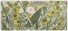 Angie Lewin's 'Yellow Rattle' linocut print, being exhibited at The Sarah Wiseman Gallery in Oxford until 26th September 2015