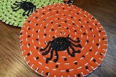 completed halloween fabric coasters Halloween Fabric, Halloween Crafts, Fabric Coasters, Halloween Party Invitations, Embroidery Needles, Running Stitch, Blanket Stitch, More Cute, Fabric Scraps
