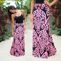 TO DIE FOR! This best seller maxi skirt is back but with a twist! It features a flawless fit and gorgeous print and bright new colors! See other stunning maxi skirts at our online trendy boutique!