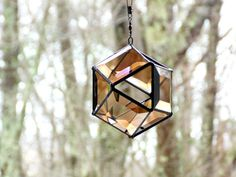 Bronze 3D orb suncatcher stained glass by DesignsStainedGlass #modern  #geometric  #stainedglass