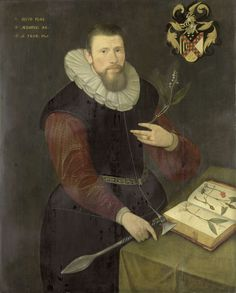 Anonymous | Portrait of a Botanist, Anonymous, 1603 | Portret van een botanicus. Portret van een man, ten halven lijve, staande achter een tafel waarop een boek met afbeeldingen van planten ligt. In de linkerhand een lelietje-van-dalen, in de rechterhand een strijdbijl. Rechtsboven het familiewapen. Pendant van SK-A-969.