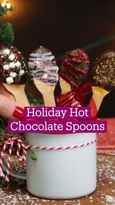 Fun Baking Recipes, Candy Recipes, Dessert Recipes, Holiday Treats, Christmas Treats, Holiday Recipes, Chocolate Spoons, Hot Chocolate Recipes, Xmas Food