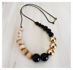 Wooden Necklace/jewellery/bohochic/woodennecklace/gold/woodenbeads/blackandgold/blacknecklace/goldnecklace/leathernecklace/beadednecklace