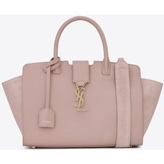 Saint Laurent Baby Downtown Leather And Suede Cabas Bag ($2,075) ❤ liked on Polyvore featuring bags, handbags, shoulder bags, suede purse, brown purse, leather shoulder handbags, brown shoulder bag and leather purses