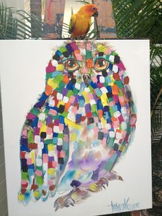 """""""Hoot"""" (and friend!)  Acrylic and Hessian on Canvas 60cm x 90cm"""