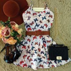 Vestido Alcinha Rodado  No neoprene C/ BOJO( Estampa Borboletas)