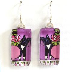 Tuxedo Cat Earrings... Lavender with Pink Roses by SusanFayePetProjects, $18.00