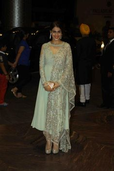 Genelia D'souza in grey anarkali dress by Shyamal & Bhumika at Shahid Kapoor's Wedding reception party