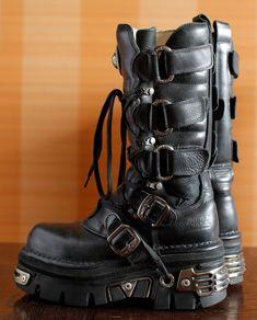 New Rock platform boots GOTH moto buckles by VintagePlatformDeal