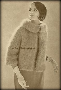 Knitting Pattern - INSTANT DOWNLOAD ELEGANT MOHAIR COAT Vintage Knitting Pattern Reproduction (APW-907S) Description: Look Glamorous in This Elegant Mohair Coat With the Attractive Rolled Collar That Sets That Makes This Lovely Brushed Mohair Coat Unique. Glamorous For Evening - Stylish for Daytime! Vintage Pattern 2 Sizes: 12-14 / 16-18 - To Fit Bust: 32-24 / 36-38 Measurements: Width at bustline (coats are larger to go over garments): 44 / 48 Width of back at underarm: 20 &...