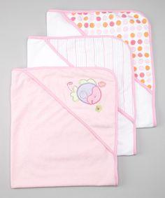 Another great find on #zulily! SpaSilk Pink Fish Terry Hooded Towel Set by SpaSilk #zulilyfinds