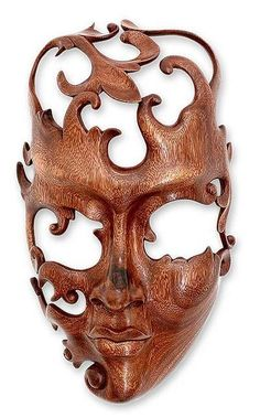 Modern Wood Mask from Indonesia, 'Lover' - Holzschnitzen , Wood Carving Art, Wood Art, Wood Carvings, Wood Wood, Painted Wood, Diy Wood, Chainsaw Carvings, Art Sculpture, Metal Sculptures