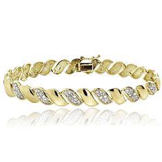 0.50ct TDW Diamond San Marco Tennis Bracelet in Gold Plated Brass