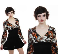 MOD Mini Dress Vintage 60s 70s Bright Floral by neonthreadsdesigns, $40.00