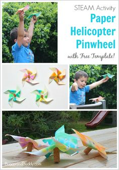 Paper Helicopter Pinwheel with Free Template - Buggy and Buddy STEM and STEAM Activity for Kids: Paper Helicopter Pinwheel (w/ Free Template) Preschool Projects, Science Activities For Kids, Steam Activities, Stem Projects, Toddler Activities, Origami, Helicopter Craft, Pinwheel Craft, Diy For Kids