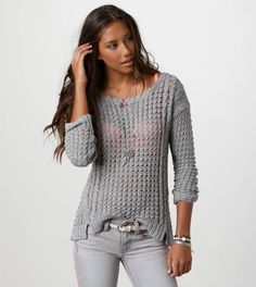 AE Open Stitch Cable Sweater