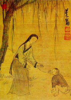 (Korea) Mother & Child by Kim Hong-do (1745-1806). aka Danwon. ca 18th century CE. Joseon Kingdom, Korea.