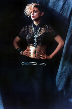 Look to pop idols - past and present - for Halloween inspiration. We love Madonna's 80s style, which mixes lace, leather, studs and loads of jewellery. #newlook #fashion