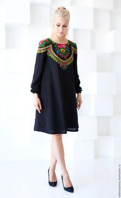 Order a black dress . Folk Fashion, Ethnic Fashion, Hijab Fashion, Fashion Dresses, Womens Fashion, Fashion Fashion, Fashion News, Mode Russe, Russian Fashion