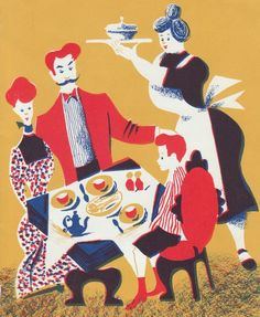 1940 wall art Family Dinner bold colors by AnemoneReadsPaperie, $10.00