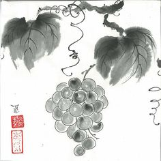 """Original Art """"Grapes"""" - in Japanese style - sumi-e drawing with wash ink - Wall decor"""