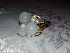 14k gold ming's jade 8mm pearl ring