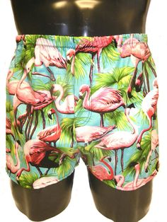Mens Cotton Boxers Boxer Shorts Aqua Pink Flamingo's by MoonersUK