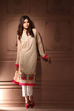 96c11a65be Ivory and beige colorful shirt. Pakistani Outfits, Indian Outfits, Indian  Clothes, Ethnic