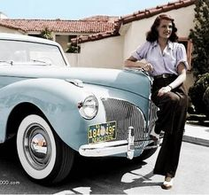 Rita Hayworth with her 1940 Lincoln Continental....things of beauty are joys forever !