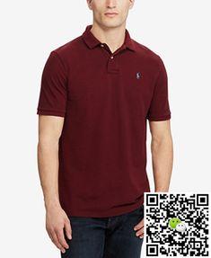 Polo Ralph Lauren Men's Custom Slim Fit Mesh Polo Wine Red
