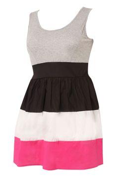 jersey cotton plus dress | Colour Block Jersey  Cotton Dress