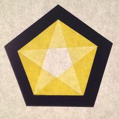 Transparant pentagon geel middel