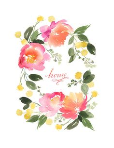 Handmade Watercolor Archival Art Print- Flower Wreath in Peach and Yellow