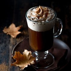 Spiced Irish Coffee -- Classic Irish coffee topped with pumpkin spice-flavored whipped cream.