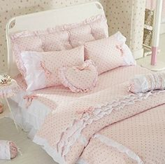 Amazon.com - Pink Polka Dot Bedding Sets, Rustic Girls Duvet Cover Set, Queen Size, 4Pcs - Childrens Bedding Collections Polka Dot Bedding, Pink Bedding, Girl Room, Girls Bedroom, Bedroom Decor, Girls Duvet Covers, Duvet Cover Sets, Baby Girl Bedding Sets, Vintage Cushions
