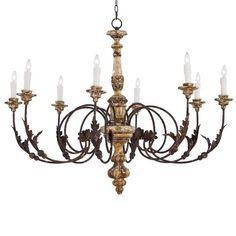 This detailed antique chandelier is beautiful with brown and gold finishes and a curated vintage look. The Oleander is a gorgeous statement piece that will an  authentic, old world style to any space. Above a dining table or in a grand entrance, all eyes will be on this rustic chandelier.