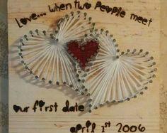 Heart String Art #HeartStringArt #ValentinesDay #Love #WoodBurned #StringArt #NailArt #Handmade #MadeInMichigan