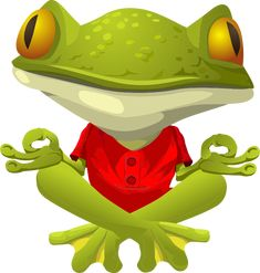 Yoga Frog (red) by jogdragoon - Based on: The original glitch clipart is about inhabitants, npc, yoga, frog. glitch was a computer game whose visual assets were released into the public domain domain after the game failed commercially.