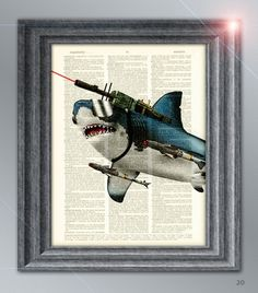 Dictionary page Art Great White Shark with Laser Beams