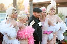 Tres Chic Weddings & Events: An Evening with Gatsby Party- feather boa and gloves instead of bouquets