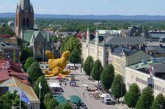 """Big Yellow Rabbit"" art installation in Sweden."