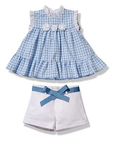 Conjunto de niña vichy azul