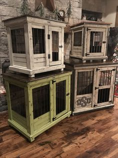 Urban farmhouse design indoor dog kennel! Barn door rollers to boot! This a gorgeous piece of furniture for your home! #kennelandcrate #Dogkennel #Kennel #Dogfurniture
