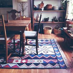 Could put a rug under the table to help mark out the space.  Maybe cobalt blue flatwoven one from Shanti.