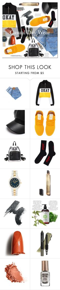 """""""Casual Day Wear"""" by esellevee ❤ liked on Polyvore featuring Levi's, adidas Originals, Roberto Cavalli, Shiseido, trèStiQue, Barry M, Chloé and Olsen"""