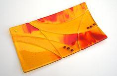Dazzling+Red+Orange+Yellow+Fused+Glass+Platter+door+ModMixArt,+$68.00