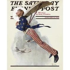 Norman Rockwell flying contraption compare to Japanese poster below
