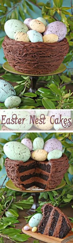 Easter Nest Cake - a gorgeous Easter cake filled with rich devil's food cake and lots of chocolate buttercream! | From SugarHero.com