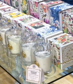 Candles with multiple fragrances? Put each one under a glass cloche so the fragrances don't mix. Then you just lift the glass, invert it, and get the lovely fragrance which has gathered inside. Shown here with our new Deborah Michel Collection scented candles.  #MichelDesignWorks Kitchen Shop, Shop Displays, Visual Display, Retail Space, Window Shopping, Scented Candles, Fragrances, Biodegradable Products, Nest
