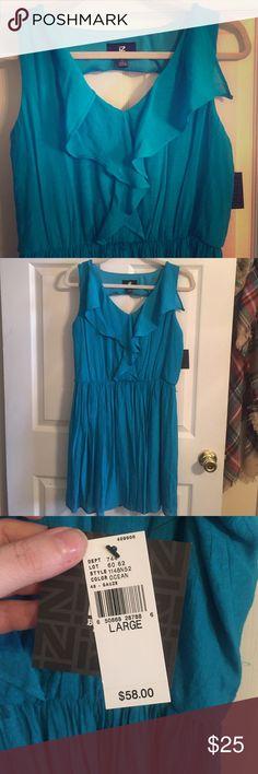 Blue linen dress NWT Linen dress very comfy NWT Iz Byer Dresses